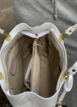 Кожаная роскошная белая сумка с принтом dalida италия4 фото