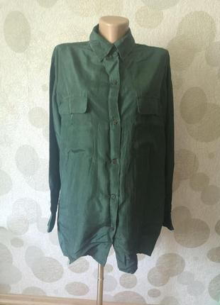 Шелковая рубашка с карманами оверсайз