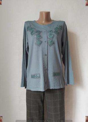 Новая нарядная кофта/джемпер/реглан с украшением в сером цвете, размер л-хл