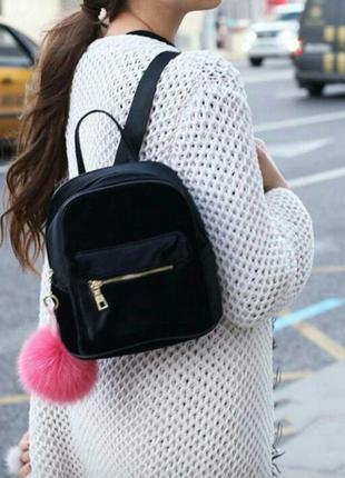 Рюкзак вельветовый бархатный черный
