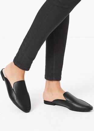 Миндалевидные туфли мюли marks&spencer из веганского материала,р.38