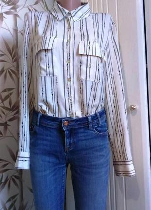 Рубашка блуза бежевая  в красивую полоску  прямого немного свободного кроя