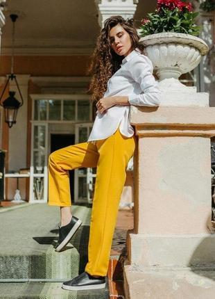 Желтые брюки классика женские штаны укороченные