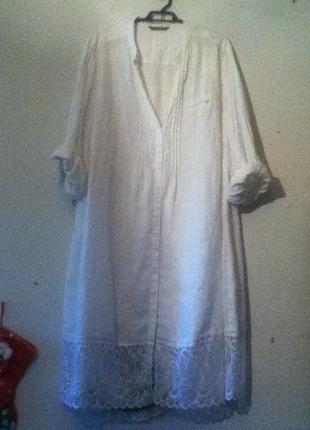 Платье-рубашка -58-60 разм.    лен 100%.