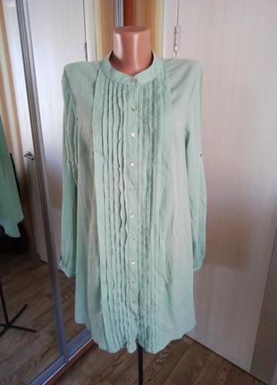 Хлопковая мятная удлиненная блуза от sussan 10-12 рр.