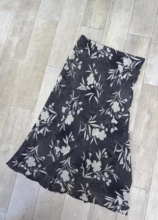 Шёлковая миди юбка,чёрная шифоновая юбка,принт,цветы