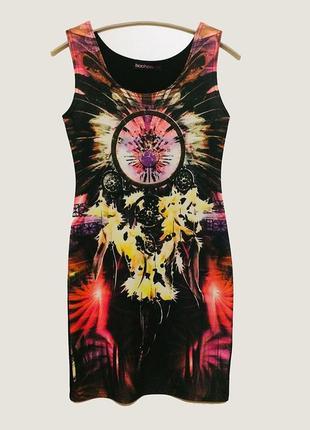 Платье boohoo короткое без рукава принт ловец снов пог 39 см
