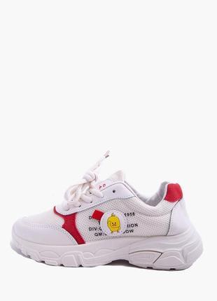 Кроссовки бело-красные