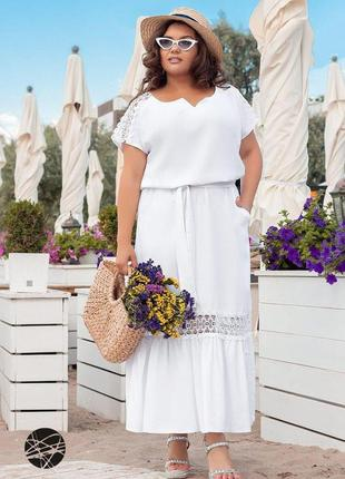 Льняное макси платье с кружевом