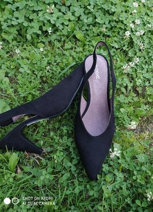 Лодочки- туфельки з відкритою п'яткою чорні замш  босоніжки туфлі1 фото