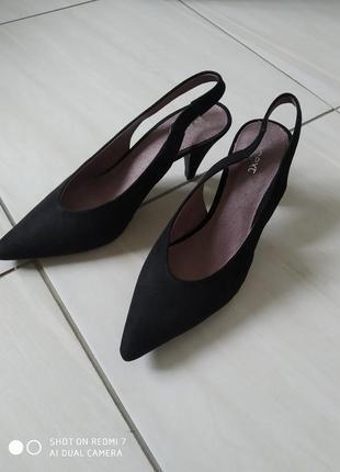 Лодочки- туфельки з відкритою п'яткою чорні замш  босоніжки туфлі3 фото