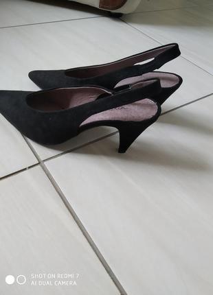 Лодочки- туфельки з відкритою п'яткою чорні замш  босоніжки туфлі4 фото
