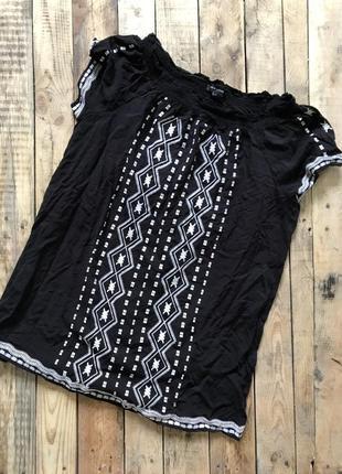 Натуральная красивая, стильная блуза, туника с вышивкой - 14 размер