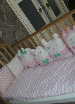 Детская кроватка с ортопедическим матрасом и бортиками-зверушками!!