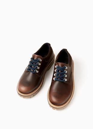 Кожаные туфли -блюхеры zara оригинал из испании р. 36