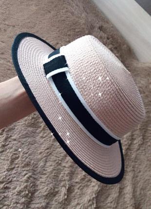 Шляпа канотье пудра