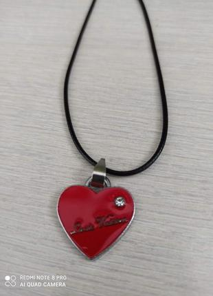 Сердечко комплект кулон на вощеном шнурке ❤️