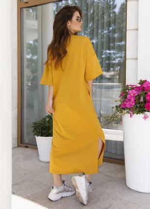 Стильное длинное хлопковое платье футболка горчичное прямое2 фото
