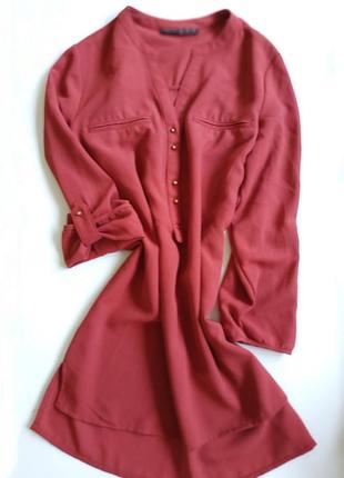 Atmosphere блузка рубашка блуза оранжевая шифон с золотистыми бусинками
