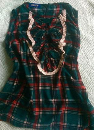 Яркая блузка без рукавов в клетку sezone блуза зелёный красный