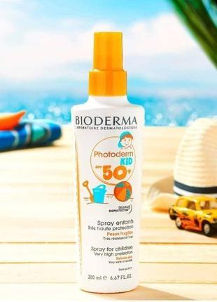 Солнцезащитный  спрей bioderma photoderm kid spf 50+ 200 мл