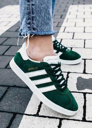 Кроссовки adidas gazelle green ( aдидас газель ) кеды зеленые с белой подошвой