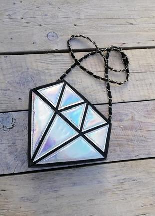 Сумка диамант, яркая сумка, зеркальная сумка