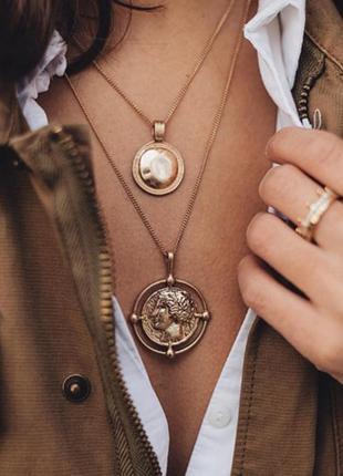 Цепочка 2 цепи колье ожерелье с кулонами монетками новая качественная под золото