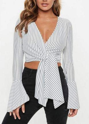 Кроп топ блуза блузка короткая на запах завязках