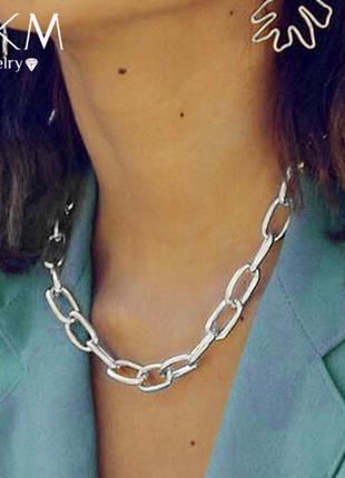 Цепь цепочка колье ожерелье под серебро новая
