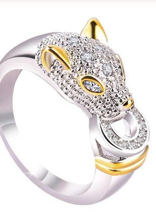 Красивое кольцо пантера с покрытием серебром 925 проба