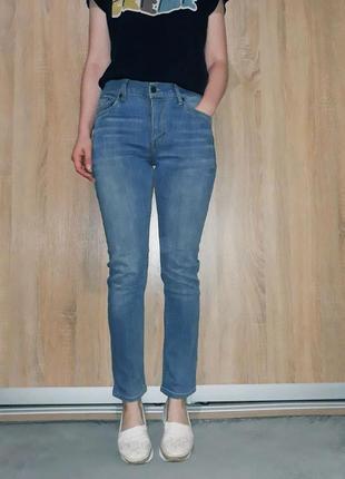 Крутые голубые мягкие плотные джинсы на средней посадке levis 501 модель