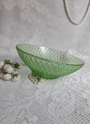 Салатник ссср зеленое тисненное стекло сеть блюдо конфетница фруктовница