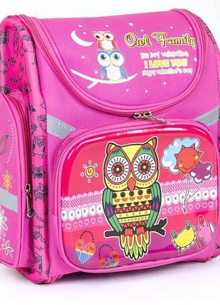 Школьный каркасный рюкзак для девочек сова розовый 3423-9
