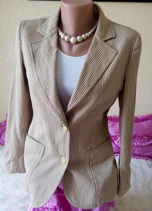 Распродажа!  стильный пиджак в полоску размер m l