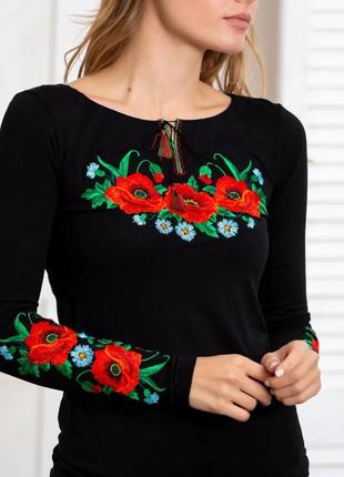 Лонгслив с красивой цветочной вышивкой размеры s-xxl