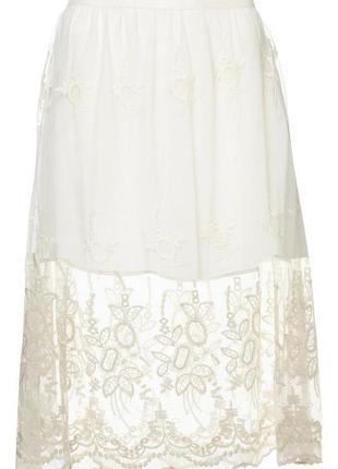 Кружевная вышитая юбка миди topshop размер 6/34/xs