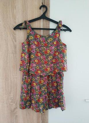 Ромпер комбинезон принт цветы шорты майка футболка