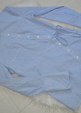 Cтильная, удлиненная рубашка h&m в полоску  с карманом, хлопок