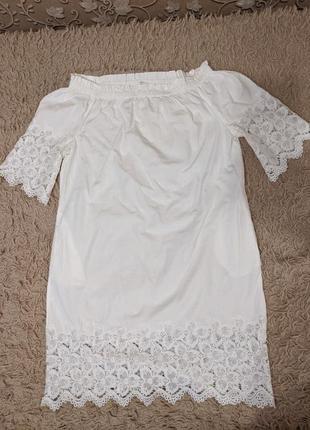 Хлопковое белое платье
