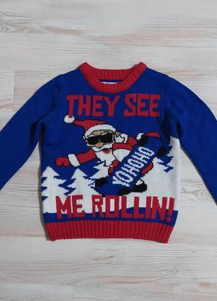 Клевая новогодняя кофта свитшот свитер на 3-4-5лет