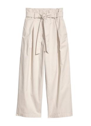 В наличии - широкие укороченные брюки на высокой посадке с поясом *h&m* 12/42 р.