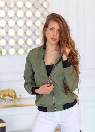 Демисезонная куртка бомбер хаки зелёная