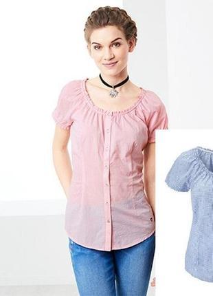 Летняя блуза, рубашка в клетку из био-хлопка от tchibo