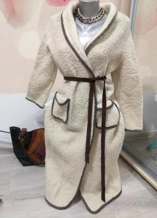 Женский теплый халат. халат из овчины. германия.
