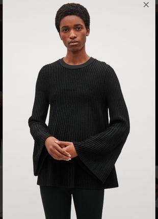 Cos/шерстяной джемпер свитер трапеция  с расклешенными рукавами
