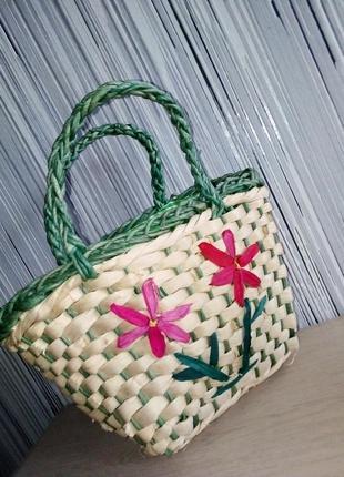 Соломенная сумка корзина для маленькой леди