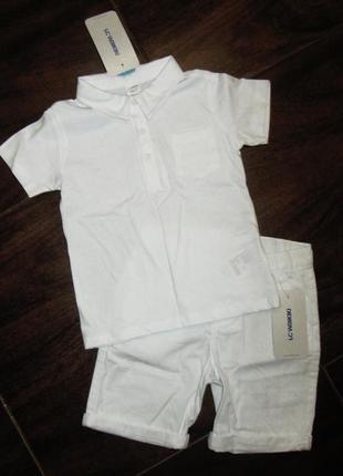Новый белый нарядный костюм для мальчика 3-4 года летний