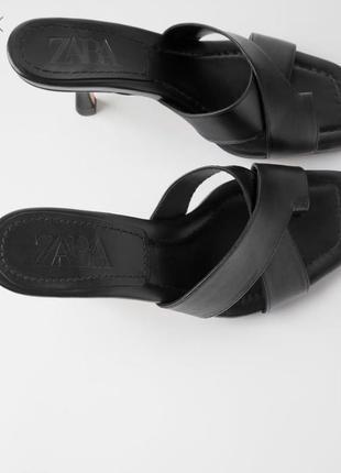 Кожаные черные мюли шлепанцы zara