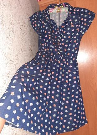 Платье короткое с завышенной талией...
